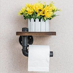 Get it online: Candora Industrial Pipe Toilet Paper Roll Holder Towel Dispenser Storage Rustic Style Tissue Hanger Black Malleable Metal Iron & Brown Wood Wall Mounted Bathroom Paper Shelf