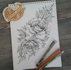 Tattoo desing peony flower