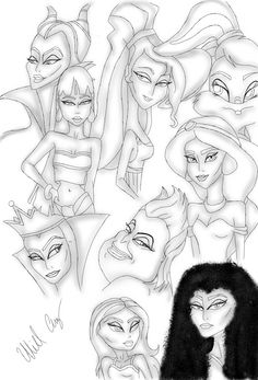 Quick sketches,some of the biggest influences on my work,are these iconic fictional female characters #chel #megara #jasmine #maleficent #ursula #evilqueen #gothel #lolabunny #bratz #disney #illustrations #fictionalcharacters
