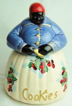 *MC COY BLACK AMERICANA MAMMY CHERRIES & BLUE ~ Cookie Jar