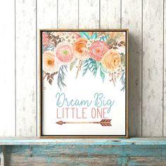 Dream Big Little One Boho Baby Girl Nursery by WhiteEarsDesigns