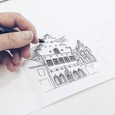 By Elin Östberg Kalmar is happening  #sketch #sketching #sketchbook #art #artwork #print #doodle #doodling #architecture #sweden #målning #rita #teckning #teckna #måla #kalmar #stadsverk