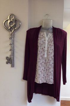 Plum colouring detail white shirt with roll up sleeves £28.00 with our plum cardigan £25.00 all soft complimenting colours which will look beautiful on anyone! - FREE DELIVERY!