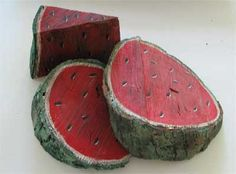 watermelon slice. painted wood by Carole Holt. 28. (3 images.)