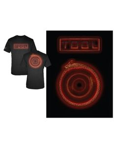 Tool Snake Logo Mens T-Shirt - This mens black t-shirt, features the Tool logo printed in red on its front, with Tools Snake Logo design, a spiralling snake, printed in red on its back.