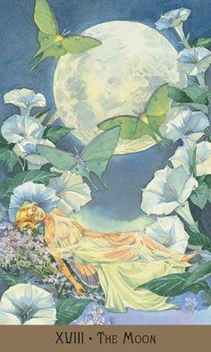 It's Tarot card Tuesday again, and it seems you all are dreaming up something wonderful that will come to fruition soon! The Tarot card. The Moon Tarot Card, Tarot Major Arcana, Oracle Cards, Moon Art, Tarot Decks, Fantasy Art, Illustration Art, Victorian, Drawings