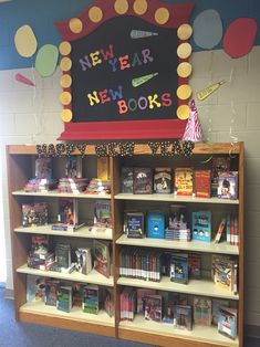 New year, new books library display School Library Displays, Middle School Libraries, Elementary School Library, Library Themes, Teen Library, Class Library, Library Skills, Library Lessons, Library Ideas