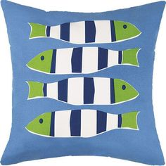 Toss in a sense of whimsy with these color-filled Four Green and Blue Striped Fish Pillows.   Highlighted with a series of four green, blue and white striped fish images on a bright blue background, t