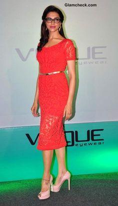 Deepika Padukone in Red Lace Dress