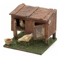 Gallinero pesebre napolitano cm 8/10 2 Miniature Crafts, Miniature Food, Diy Crafts For Kids, Arts And Crafts, Toy Barn, Doll House Plans, Traditional Toys, Chickens And Roosters, Nativity Crafts