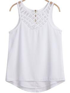 White Sleeveless Hollow Zipper Chiffon Vest - Sheinside.com