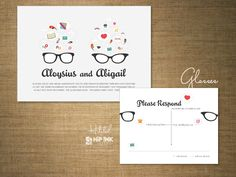 Glasses invitation suite from the Hitched collection by Hip Ink!