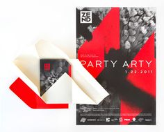 party invite. love the grey, red, and cream colors