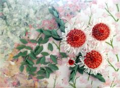 Actinidium Cunninghamii (Albany Daisies). Background inspired by Laura W. Adams fine art collages.