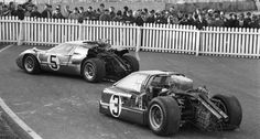 Holman & Moody's destroyed Ford sports cars besides the Le Mans track: the Mk IV J7, driven Lucien Bianchi (B) and Mario Andretti (USA), after an accident in lap 188 and in front if it lies the Ford Mk IIB 1031 of Frank Gardner and Roger McCluskey.
