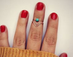 sterling silver knuckle rings, chevron knuckle rings, turquoise ring, stacking rings, ring set, chevron ring