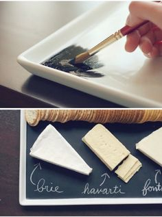 I love this simple but clever idea. Chalkboard paint on a white platter for a DIY cheese plate. You Can Put Chalkboard Paint on That? 8 Awesome DIYs to Try Wine And Cheese Party, Wine Tasting Party, Wine Parties, Wine Cheese, Goat Cheese, Best Housewarming Gifts, Diy Chalkboard, Blackboard Chalk, Black Chalkboard