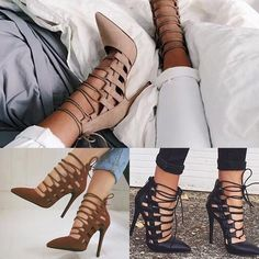 Sexy Hollow Cross Lace Up Stiletto High Heels