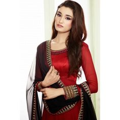 Red & Black Georgette With Raw Silk Salwar kameez