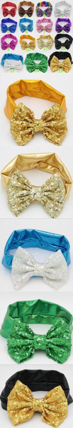 "10pcs/lot Free Epacket/CPAP 5"" Big Sequin Messy Bow headband Baby Jersey Headband, Children Headwear, Flower Hair Accessories"