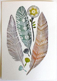 Watercolor Art Painting Feather Dandelion Nature Art by RiverLuna