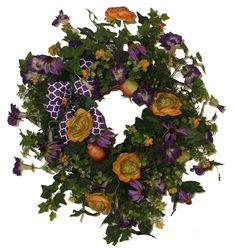Silk flower wreath with Purple Petunia/Yellow/Red Ranunculus/Purple Cone Flower/W Purple/White Medallion Bow-SMW02