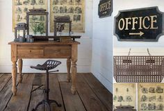 THE HOME OFFICE   Whether you have a designated home office or just a desk in the corner, you spend considerable time in that spot. Antique Farmhouse has gathered some choice decorating ideas to help you organize with vintage charm and retro flair.  The Adjustable Height Tractor Seat has rustic style written all over it. The Metal File Desktop Organizer is oh-so durable and functional for home file tray organization.