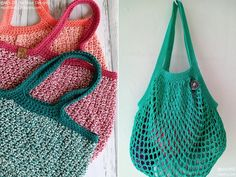 Easy Market Bags Free Crochet Patterns They are reusable, durable, and ready to keep all your groceries safe. The net bags can easily fit in your purse or pocket, but they are stylish enough to act as handbags too! Crochet Market Bag, Crochet Tote, Free Crochet, Cotton Crochet Patterns, Net Bag, Simple Bags, Last Minute Gifts, Crochet For Beginners, Yarn Colors