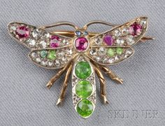 Antique Demantoid Garnet, Ruby, and Diamond Insect Brooch