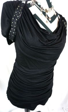 Daytrip Top S Size Small The Buckle Bke Solid Black Drape Beaded Womens Shirt #Buckle #Blouse #Casual