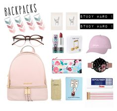 """backpacks"" by littlelook on Polyvore featuring Michael Kors, Kate Spade, Olympia Le-Tan, Pentel, Sephora Collection, Olivia Burton, Wildfox, Happy Plugs, Urban Outfitters and backpacks"