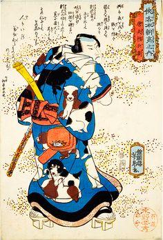 歌川国安が描く粋姿、子犬柄の和服、江戸奇想の和服
