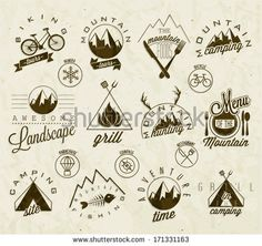 Retro vintage style symbols for Mountain Expedition: Adventure, Camping, Hunting, Tour, Foods, Camping site, Camping Grill, Biking Tours. Mountain feeling. Vector. Symbols for mountain background.
