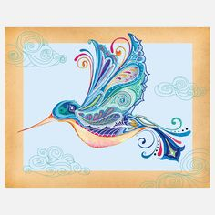 Funky Hummingbird 14x11 by Michele Doherty