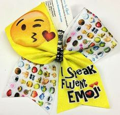 Bows by April - I Speak Fluent Emoji (Blowing Kiss) Emoji Pattern Sublimated Cheer Bow, $15.00 (http://www.bowsbyapril.com/i-speak-fluent-emoji-blowing-kiss-emoji-pattern-sublimated-cheer-bow/)