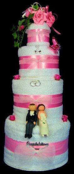 Wedding Towel Cake for wedding shower  For baby showers use diapers instead
