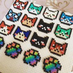 Prepping more cat keychains to restock! Perler Bead Designs, Easy Perler Bead Patterns, Hama Beads Design, Cross Stitch Patterns, Perler Beads, Perler Bead Emoji, Perler Bead Art, Minecraft Pattern, Motifs Perler