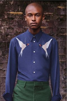 Ink Embroidered Cotton Shirt by STELLA McCARTNEY SS17 for Men #Shirt #Cotton #Blue #Birds #fashion