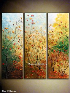 "ORIGINAL Landscape Painting Abstract Painting Textured Palette Knife Triptych Fall Autumn   36""x 36"" by Nata S.-Made to order"