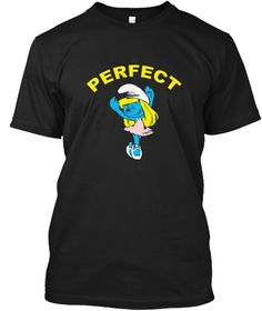 Perfect Cartoon Girl Smurfette Blue  Black T-Shirt Front