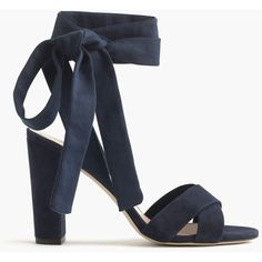 J.Crew Suede Sandals With Ankle Wraps ($205) ❤ liked on Polyvore featuring shoes, sandals, ankle wrap sandals, high heeled footwear, ankle tie shoes, high heel sandals and j crew sandals