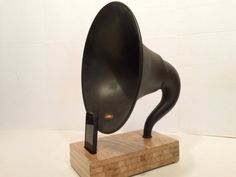 Acoustic  iPhone Speaker Dock Utilizing a Vintage Antique Atwater Kent Gramophone Phonograph Horn -READY to SHIP-