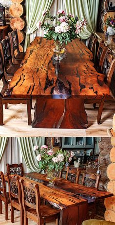 "A beautiful dining table for 6 person is made of slabs of wood with a very beautiful texture and a natural, ""live"" edge. The wood for the table was heat treated. Wood is covered with natural oil-wax. The River style table is filled with epoxy resin Legs of the table are also made of the wood. #woodtable #woodepoxytable #diningtable"