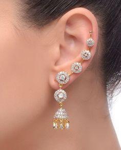 Beautiful Little Diamond Jhumka Earrings for Girls Jewelry Design Earrings, Gold Jewellery Design, Ear Jewelry, Cuff Earrings, Diamond Jewelry, Diamond Earrings, Gold Jewelry, Ear Cuffs, Earring Trends