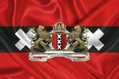 Fine Art Print: Coat of Arms of Amsterdam over Flag of Amsterdam by Serge Averbukh via FineArt America....