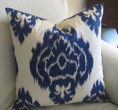 Blue IKAT Pillow Cover one 20 inch accent pillow toss pillow throw pillow. via Etsy.