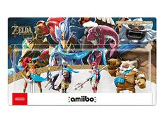 Set with collectible Amiibo figures of the Champions (Urbosa, Revali, Mipha, Daruk) from the video game The Legend of Zelda: Breath of the Wild. The figures are 7 to 9 cm tall and contain a chip with NFC technology in their base which allows communication with games on the Nintendo Wii U, New Nintendo 3DS & 2DS and Nintendo Switch consoles.