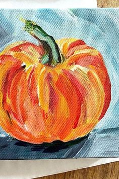 Learn How to Paint a Pumpkin on Canvas with Acrylic Paint | Painting Tutorial for Beginners