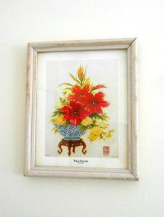 """K Chin Litho Vintage 1970's """"Tulips Orientale"""" Chop Mark by my3luvbugs, $42.95 #Etsy #Vintage"""