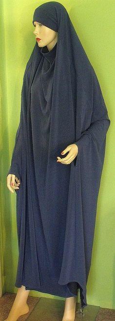 Floor Length Khimar Overhead Abaya Prayer Garment Chador Blue. $37.00, via Etsy.